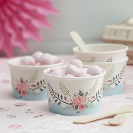 Pretty Vintage Floral Fancy Paper Ice Cream Tubs & Wooden Spoons - pack of 8